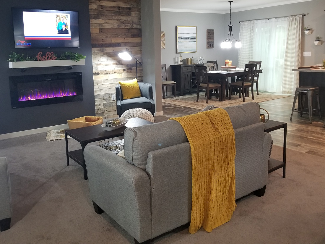 Manufactured home living room and kitchen