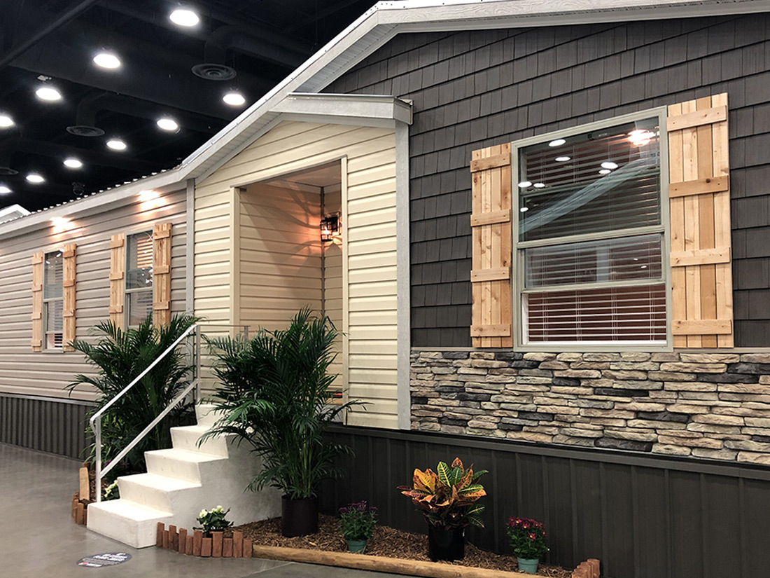 Manufactured home with stone and shingle siding color