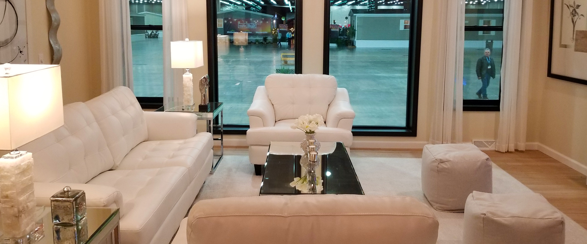 Living room looking out onto show floor